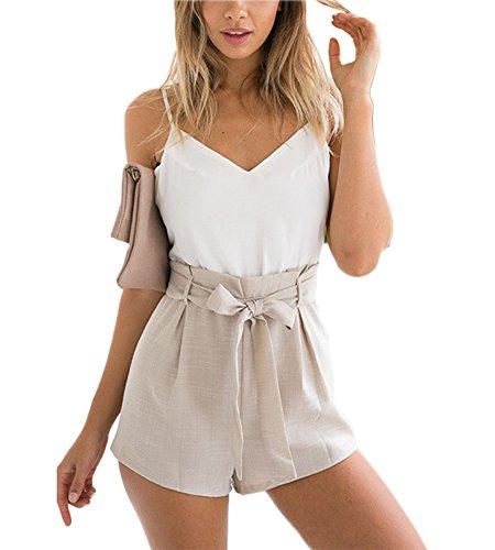 Minetom Damen Sommer Elegant V-Ausschnitt Rückenfrei Ärmellos Overall Playuit Jumpsuit Mädchen Freizeit Spleißen Mit Gürtel Weiß DE 36