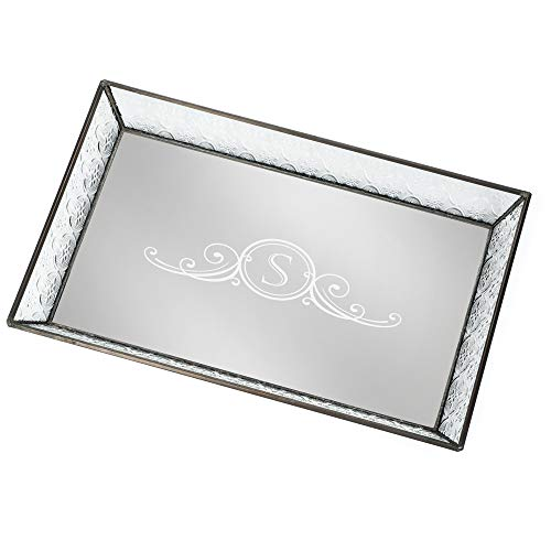 J Devlin Tra 106-1 ET207 Personalized Vintage Glass Jewelry Tray with Mirrored -