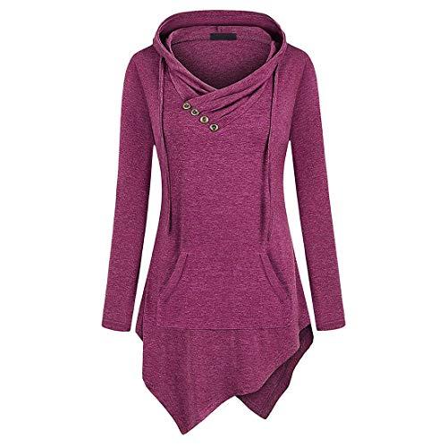 Hoodie Damen Sweatshirt Damen Elegant Einfachheit Einfarbig Kängurutasche Unregelmäßiger Saum Komfort Freizeit Damen Hoodie Herbst Neues Schlank All-Match Langarm Damen Hoodie A-Purple XL