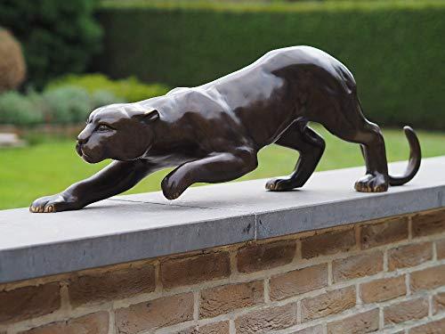 IDYL Figura de bronce de leopardo, 90 cm de largo, decoración de jardín, gato salvaje, color negro