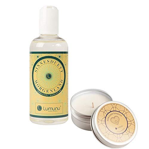 Deluxe Massage-Set aus Massage-Kerze HERZERWÄRMEND (60g) & Massage-Öl MORGENLAND (250ml), für entspannende Massagen, von Venize