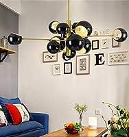 HLL ペンダントライト、シャンデリア電球25ワット、ルームキッチン、白ダイニングベッドルームリビングルームのためのセミフラッシュマウントceilingingフィクスミッドセンチュリーペンダントライト,ブラック