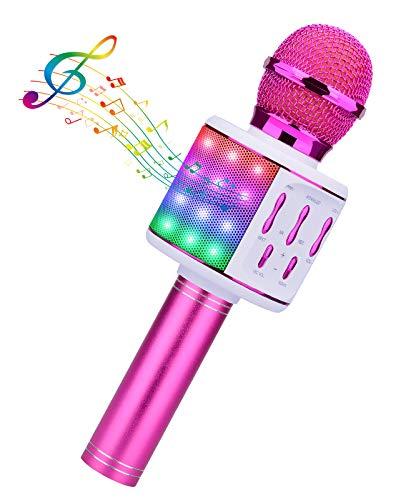BlueFire Karaoke Mikrofon, Bluetooth Kinder Drahtloses Mikrofon Led Tragbares KTV Microphone Home Karaoke mit Lautsprecher für Musik, Singen, Rundfunk, Aufnahme(lila)