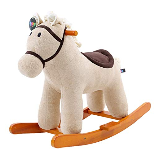 HTL Bambini a Dondolo a Dondolo Solido Cavallo a Dondolo per Bambini Giocattoli Educativi Baby Culi a Dondolo