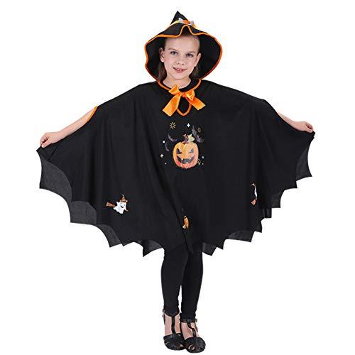 YUIP Capa de Halloween Capa de Patrón de Calabaza Capa Negra Ersey de Vampiro para Disfraz de Fiesta Negro