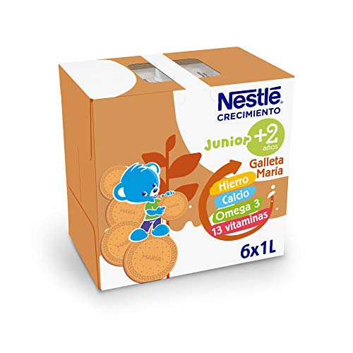 Nestlé Junior Crecimiento 2+ Galleta María Leche para Niños A Partir de 2 Años, 6 x 1L