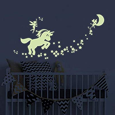 Benbo Wall Decals Glow in The Dark Cute Horse Stars Fairytale Fairy Wall Stickers DIY Kids Girls Bedroom Home Nursery Room Wall Mural Decor