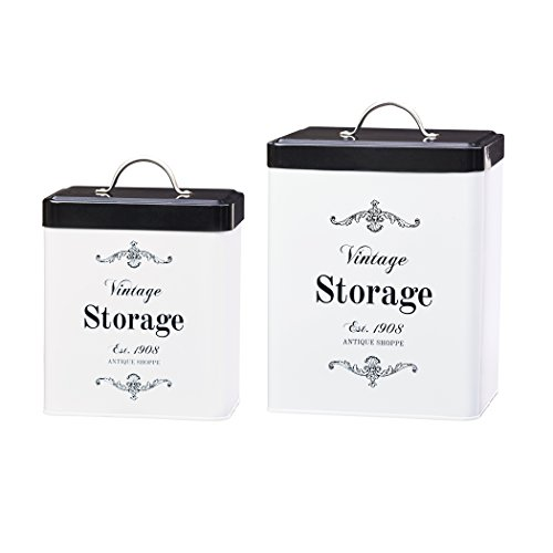 Amici Home, A7CDI022AS2R, Antique Shoppe Vintage Storage Metal Canisters, Food Safe, Push Top Lid, Assorted Set of 2 (Large, 208 Ounces; Small, 96 Ounces)