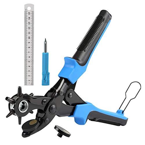 WFAANW Cuero de la perforadora for trabajo pesado Rotatorio proveedores de herramientas de ponche con 2 placas adicionales punzón y profesional regla Perforadora de la correa, correa de reloj, zapatos