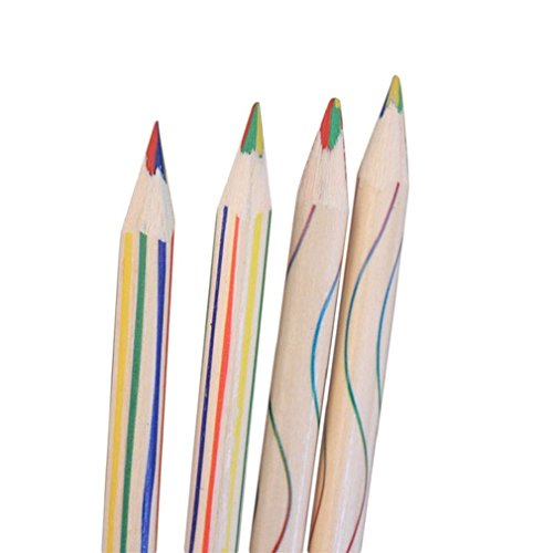 Vipe 10pcs Rainbow Color Pencil 4 in 1 Colored Drawing Painting Pencils