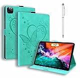 JJWYD Compatible con Funda Apple iPad Pro 12.9 Pulgada 5th Gen 2021 Portátil Funda de Tableta Cuero PU+TPU Tablet Sleeve Bag Funda Protectora Carcasa con Auto-Sueño/Estela,Verde