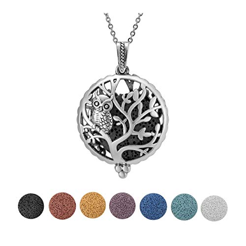 JSDDE Essential Oil Lava Stone Diffuser Round Owl Hollow Locket Pendant Necklace with 7pcs Dyed Lava Beads #2
