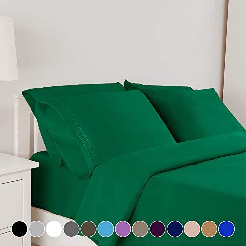 Bonzy Home 6 Piece Bed Sheet Set 1800 Bedding 100% Microfiber Deep Pocket Hypoallergenic Breathable CoolingWrinkle and Fade Resistant Bedding Set CalKing Emerald Green