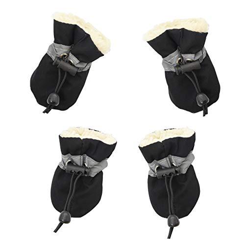 YAODHAOD Hundeschuhe, Hundestiefel Paw Protector, Winter Warm Comfortable Soft Soled Dog Skidproof Sneakers mit reflektierenden Trägern, für kleine Hunde (Größe 3: 4 x 3 cm (L * W), Schwarz)