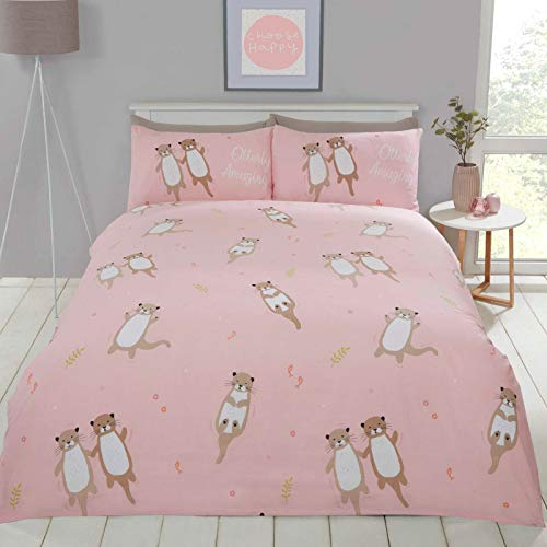 Rapport Cuddly Cute Otter Animal Duvet Quilt Cover Bedding Set with Pillow Cases (Pink, Single)