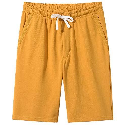 VANCOOG Men's Casual Classic Fit Terry Cloth Elastic Jogger Running Shorts-Yellow-L