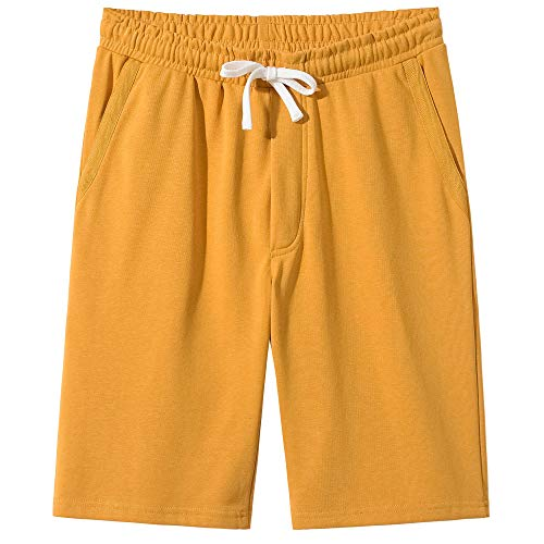 VANCOOG Men's Casual Classic Fit Terry Cloth Elastic Jogger Running Shorts-Yellow-L