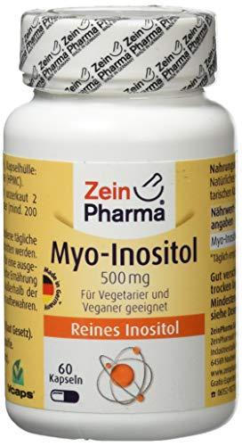 ZeinPharma MyoInositol 500 mg 60 Kapseln Monatspackung Glutenfrei vegan koscher halal Hergestellt in Deutschland, Multicolour, Neutral, 35.5 gramm