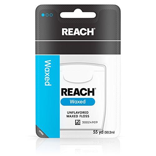 Reach Waxed Dental Floss Unflavored, 55 Yard (Pack of 6) by Johnson & Johnson Reach