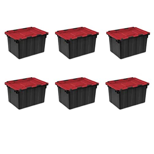 Sterilite 14649006 15 Gallon/57 Liter Industrial Tote, Black Lid & Base w/ Racer Red Latches, 6-Pack 3