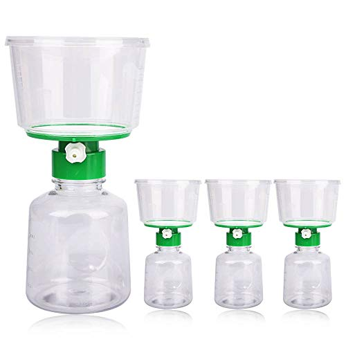 4 X Sterile Disposable Vacuum Bottletop Lab Filters with 0.22um PES Membrane for Prefiltration or Clarification, PES Vacuum Filter Units 0.22μm 500ml Funnel + 500ml Receiver LAB