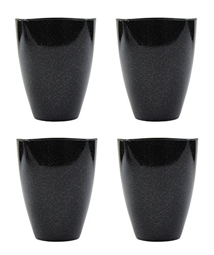 Decoline Kunststoff Blumentopf 4 Stück schwarz