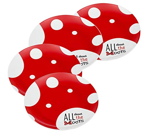 Vandor Disney Minnie Mouse 4 Piece 10 Inch Ceramic Dinner Plate Set (89137)