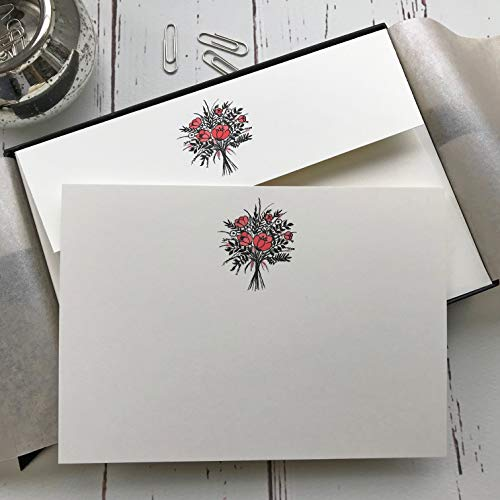 Wagtail ontwerpt Notelets met een boeket bloemen illustratie in een mooie zwarte doos met lint (pakket van 20 notelets en enveloppen)