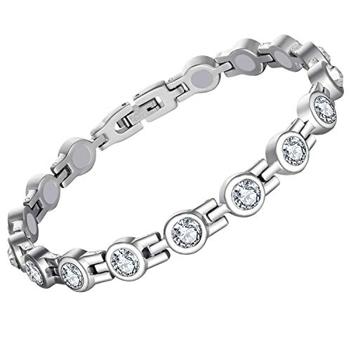Feraco Magnetic Bracelet for Women Arthritis Pain Relief Titanium Steel Magnetic Therapy Bracelets with Gorgeous Sparkling Cubic Zirconia Costume Jewelry