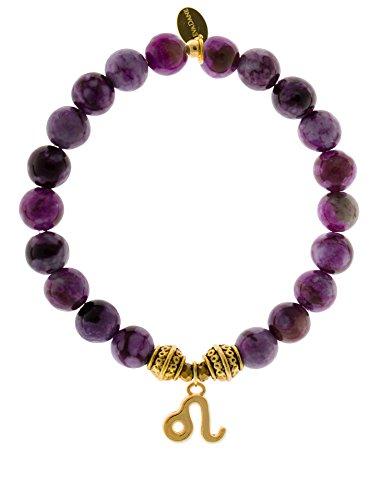 EvaDane Natural Sugilite Gemstone Tibetan Bead Leo Charm Stretch Bracelet - Size 7 Inch (1_Sug_G_T_Leo_7)