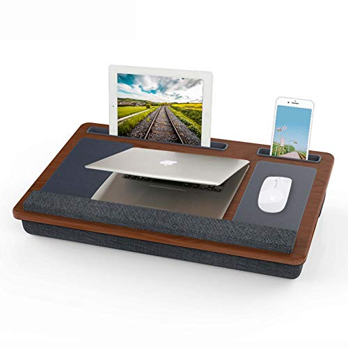Keyboards Compact Lap Desk With Double Mouse Pad, Multifunction Laptop Book Work Table, Removable Wood Writing Platform On Bed & Sofa, Fits Computer Up To 12'(Color:B)