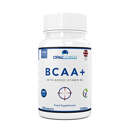 BCAA Tablets, 1200mg Branched Chain Amino Acids By Opal Fitness Nutrition - BCAA+ With Added Vitamin B6 to Aid Absorption - UK Produced And GMP Certified - Suitable For Men And Women – 120 Tablets