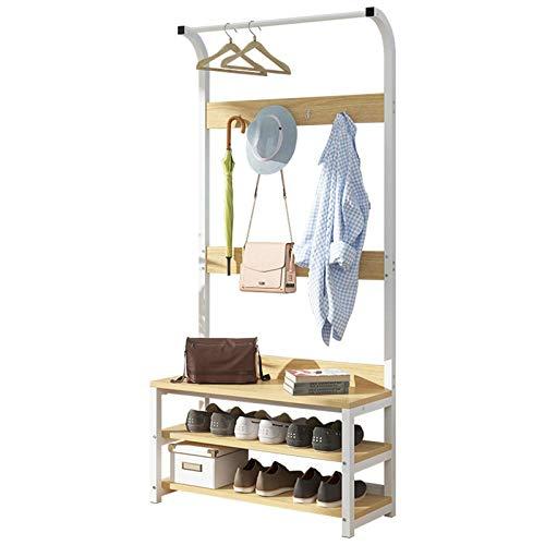 QFWM Perchero de pie de madera de hierro para la entrada, para el dormitorio, sala de estar, de madera (tamaño mediano), color blanco