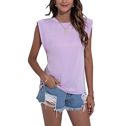 Women Sleeveless Top Blouse Casual Tank Tops Plain Tshirt Vest Ladies