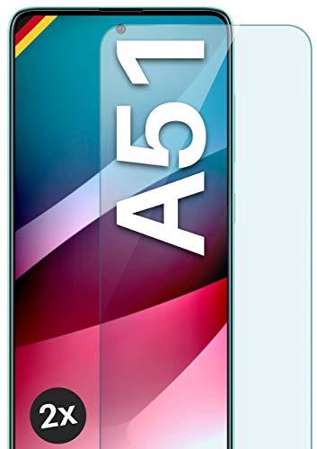 moex Panzerglas kompatibel mit Samsung Galaxy A51 - Schutzfolie aus Glas, bruchsichere Bildschirmschutz Folie, Crystal Clear Panzerglasfolie, 2X Stück