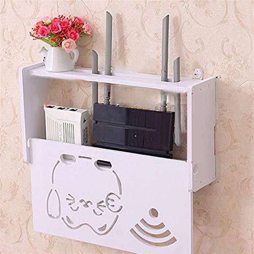 DGDH Caja de Almacenamiento de enrutador inalámbrico, Cajas de Almacenamiento enrutador WiFi Organizadores de Cable montados en la Pared Caja de Madera del Soporte del tapón (Color : 2)