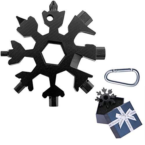Daihook 18in1Schneeflocken Multifunktionswerkzeug, Werkzeug Schneeflocke Multitool Gadgets für Männer Geschenke für Erntedank Jahrestag Vatertag Kleine Geschenk für Papa, Schwarz