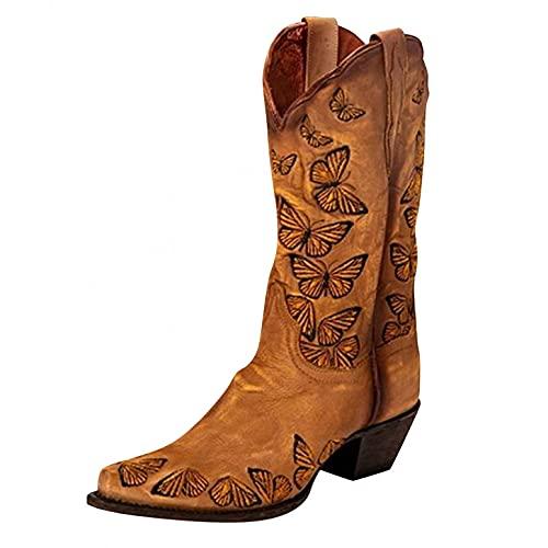 JDGY Botas de caña larga para mujer, de piel, con tacón en bloque, estilo retro, botas de punta media para mujer, marrón, 38 EU