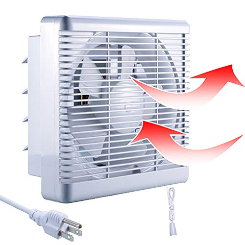 SAILFLO 10 Inch Exhaust Shutter Fan 2-Way Linkage Blower 470 CFM Strong Reversible Airflow Wall Mounted Ventilation Fan for Vents Attic Kitchen Bathroom Basement 10' Diameter Propeller-14'×14'Panel