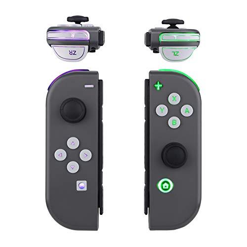 eXtremeRate Multicolore Tasti Luminosi Joycon DFS LED Kit per Nintendo Switch Pulsanti Direzionali ABXY Trigger Grilletti Ricambio per Nintendo Switch Joy-Con Controller-NON Include Joycon(Bianco)