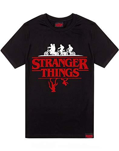 Stranger Things T-Shirt Hommes Femmes Unisexe Upside Down Top Noir Large