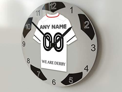 FanPlastic EFL Championship Große Fußball-Uhr – alle Teams, Fußball-Uhren-Stand-Design. !, Derby County FC