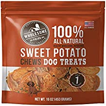 Wholesome Pride Sweet Potato Chews Dog Treats, 16 oz - All Natural Healthy - Vegan, Gluten and Grain-Free Dog Snacks - Made in USA