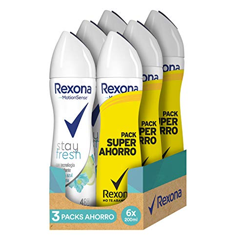 Rexona Stay Fresh Desodorante Antitranspirante Manzana - 3 Packs Ahorro de 2x200 ml (Total: 1200 ml)