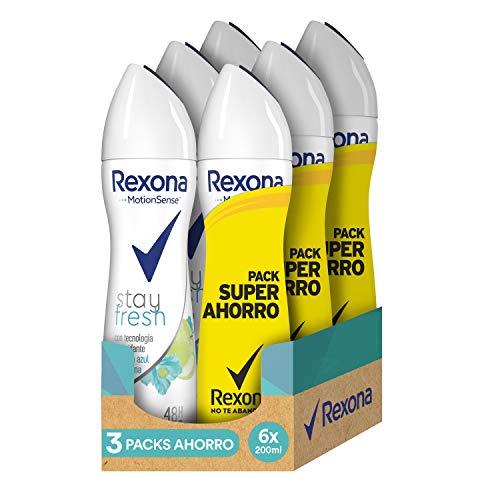 Rexona Stay Fresh Desodorante Antitranspirante Manzana - 3 Packs Ahorro de 2x200 ml (Total: 1200 ml)