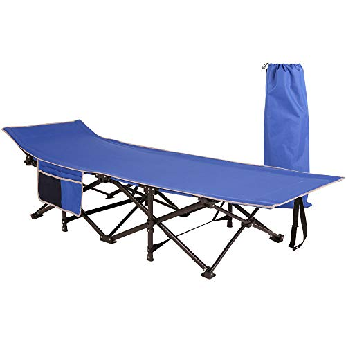 Homevibes Folding Lightweight & Portable Camping Cot with Carry Bag for Adults,Heavy Duty Stable Deluxe Collapsible Large Sleeping Bed for Hiking Hunting Traveling, 5 Colors (Blue)
