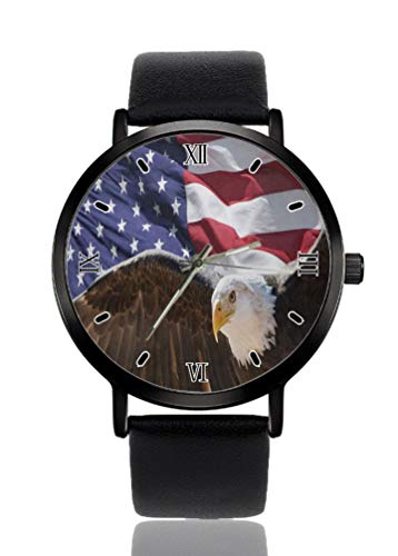Hawk American Flag - Reloj de pulsera para mujer, ultra fino, caso extremadamente simple, analógico, ultra fino, movimiento de cuarzo japonés