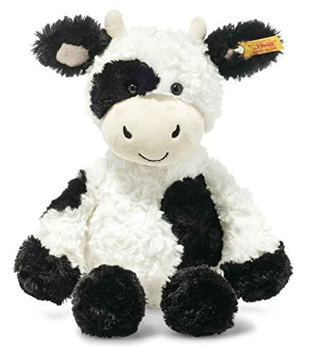 Steiff 073663 Original Plüschtier Cobb Kuh, Soft Cuddly Friends Kuscheltier ca. 30 cm, Markenplüsch mit Knopf im Ohr, Schmusefreund für Babys von Geburt an, weiß-schwarz
