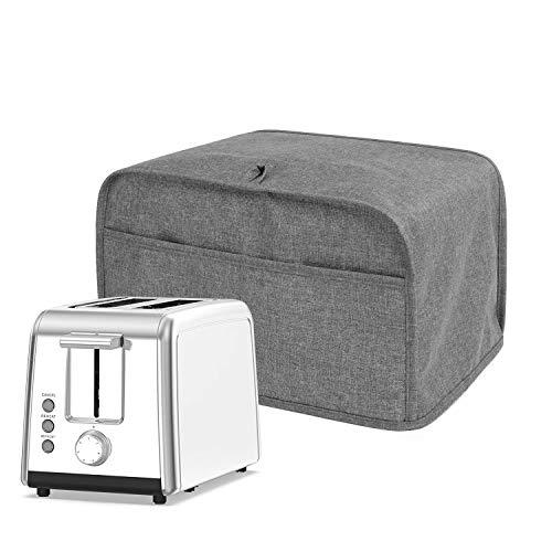 Luxja Abdeckhaube für 2 Scheiben Toaster (28 cm x 19 cm x 20.3 cm), Toasterabdeckung mit 2 Taschen (Passt für die Meisten 2-Scheiben-Toaster), Grau