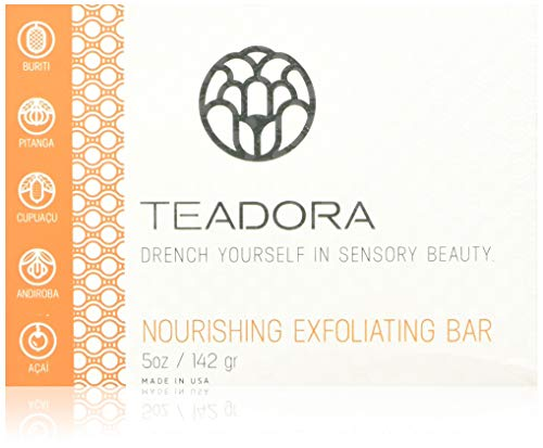 Teadora All Natural, Organic, Vegan, Exfoliating Soap Bar for Face and Body, crafted with Buriti Oil, Cupuacu Butter, Acai Seed Powder, Amazonian White Clay 5 Ounce, Dawn Scent